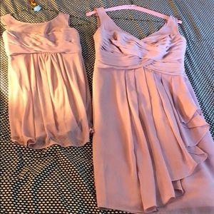 Set of two blush bridesmaid dresses